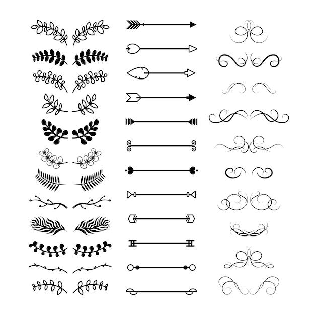 Conjunto de separadores de texto decorativo floral varios vector gratuito