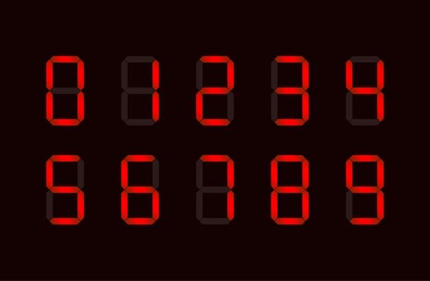 Conjunto de signos numéricos digitales rojos formados por siete segmentos Vector Premium