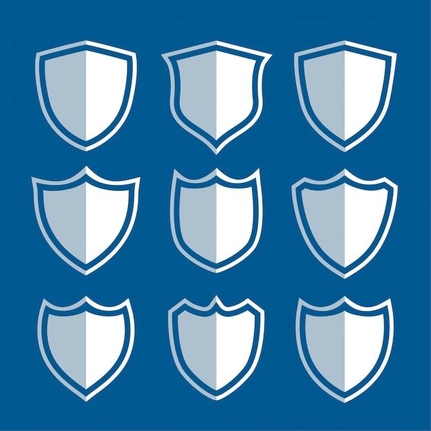 Conjunto de signos y símbolos de escudo blanco. vector gratuito