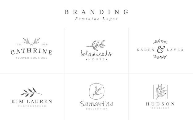 Conjunto de signos vector botánicos femeninos o plantillas de logotipo Vector Premium