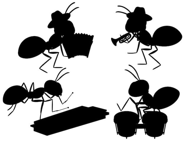 Conjunto de silueta de hormigas vector gratuito