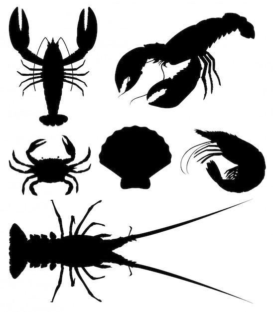 Conjunto de silueta de mariscos vector gratuito