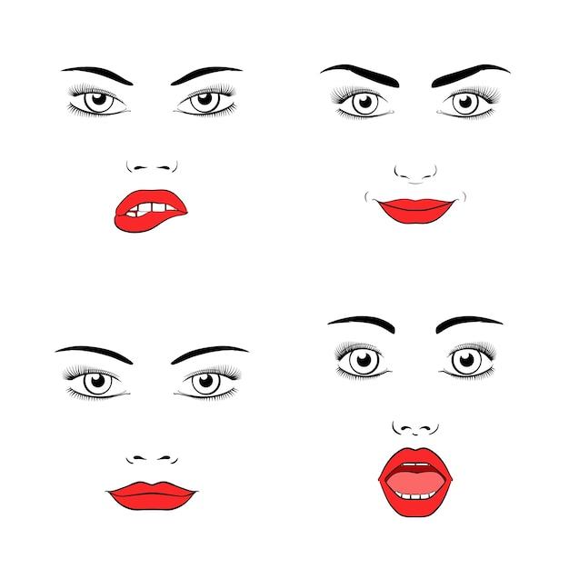 Conjunto de silueta de rostro de mujer hermosa. emociones y alegría, sorpresa e ira. vector gratuito