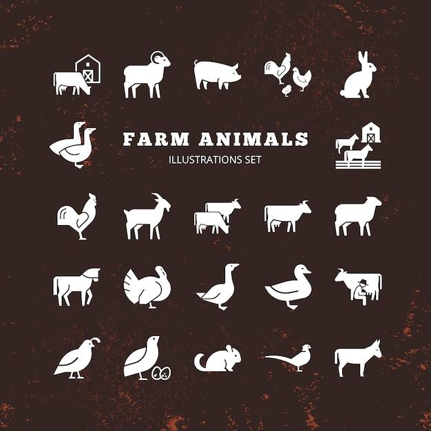 Conjunto de siluetas de animales de granja y granja Vector Premium