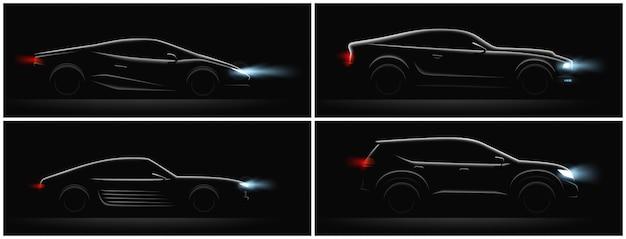 Conjunto de siluetas de coches realistas oscuros de cuatro perfiles con diferentes carrocerías y luces brillantes ilustración vectorial vector gratuito