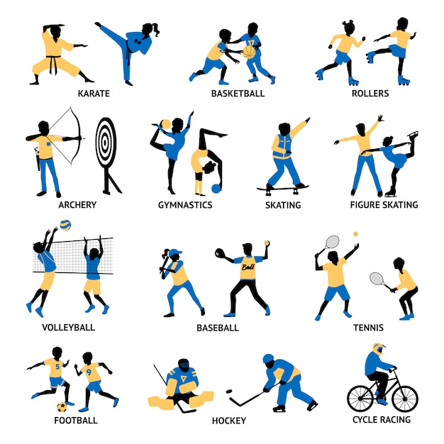 Conjunto de siluetas de deportistas vector gratuito