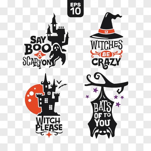 Conjunto de siluetas iconos de halloween con cita para decoración de fiesta y pegatina de corte Vector Premium