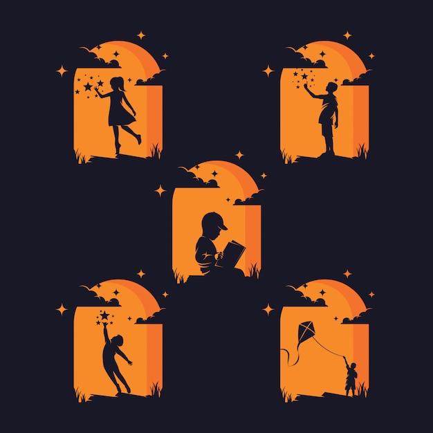 Conjunto de siluetas de niños alcanzando estrellas Vector Premium