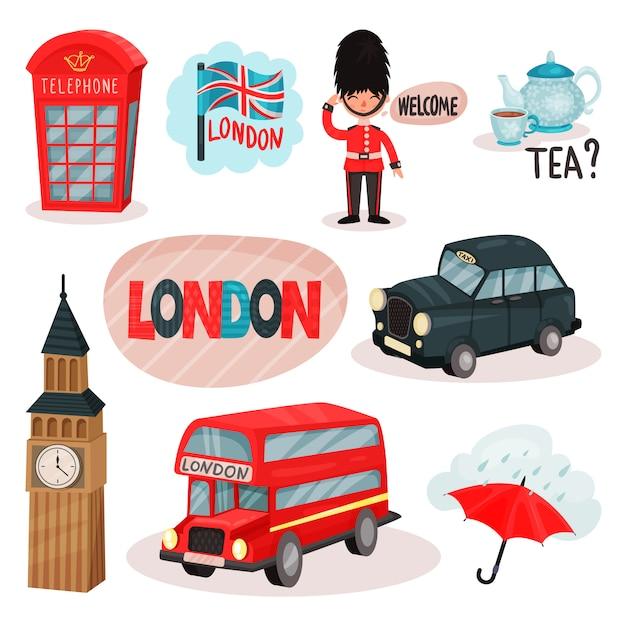 Conjunto de símbolos culturales del reino unido. cabina telefónica roja, guardia, té tradicional, big ben, transporte. viajar a londres Vector Premium