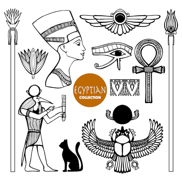 Conjunto de símbolos de egipto vector gratuito
