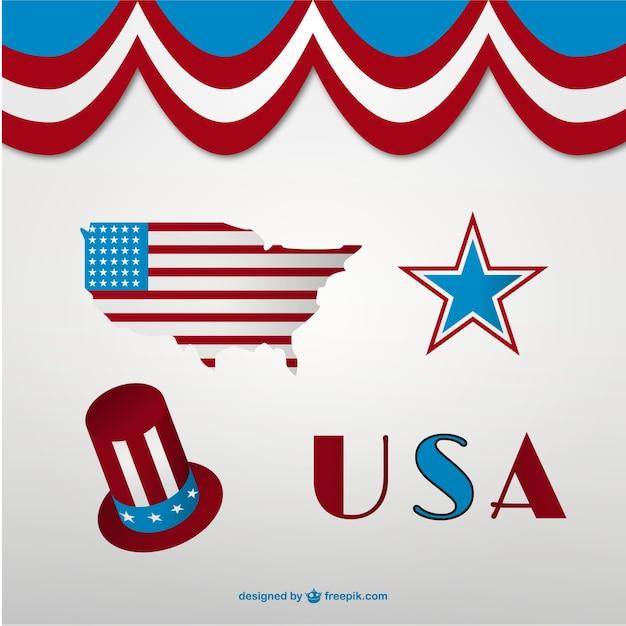 Conjunto de símbolos de estados unidos | Descargar Vectores gratis
