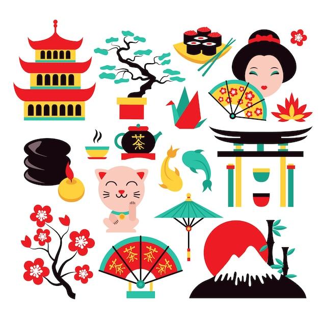 Conjunto de símbolos de japón Vector Premium