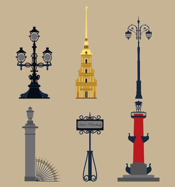 Conjunto de símbolos de san petersburgo. Vector Premium