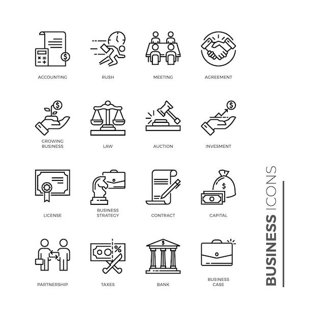 Conjunto simple de icono de negocios, iconos de línea de vectores relacionados Vector Premium