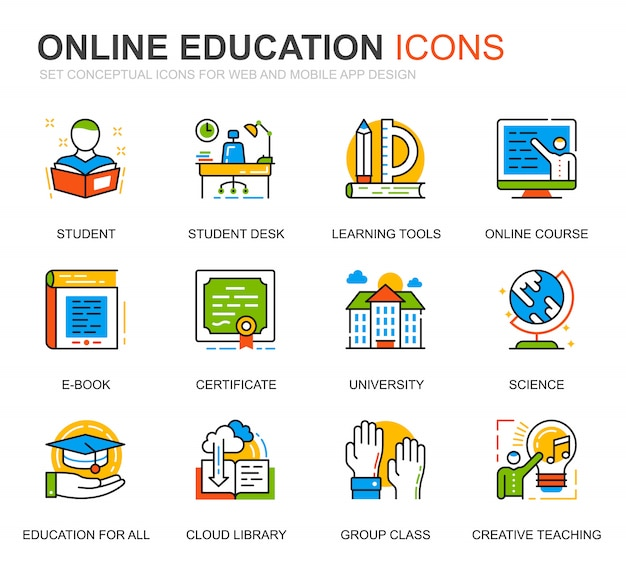 Conjunto simple de iconos de línea de conocimiento y educación para sitio web Vector Premium