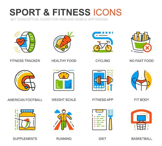 Conjunto simple de iconos de línea de deporte y fitness para sitio web Vector Premium