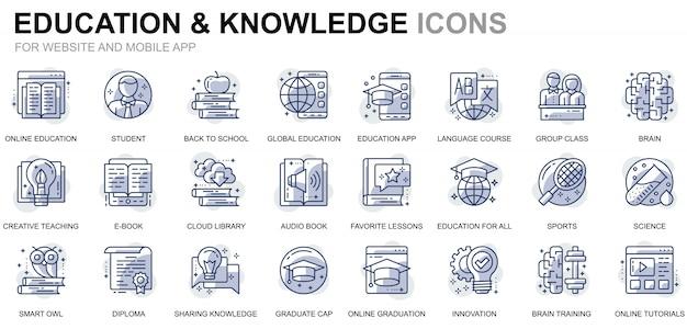 Conjunto simple de iconos de línea de educación y conocimiento para sitios web y aplicaciones móviles Vector Premium