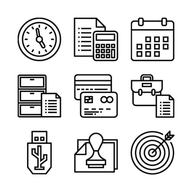 Conjunto simple de iconos de línea de vector relacionados con la oficina. Vector Premium