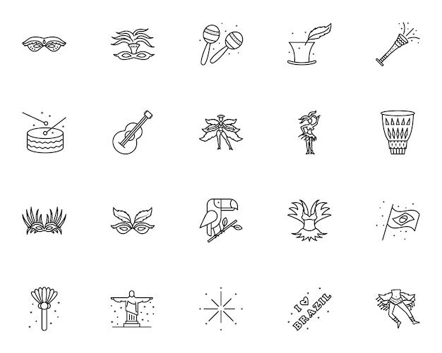 Conjunto simple de iconos relacionados con el carnaval brasileño en estilo de línea Vector Premium