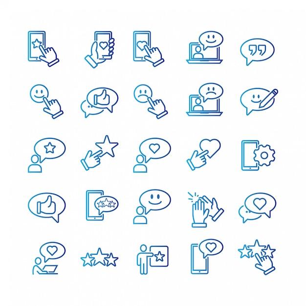 Conjunto simple de iconos relacionados de la línea del vector de los comentarios. Vector Premium
