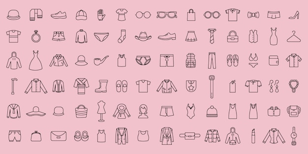 Conjunto simple de iconos de tela y accesorios de línea delgada de vector Vector Premium