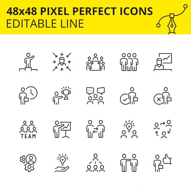 Conjunto simple de iconos de trazo para trabajo en equipo y gente de negocios. contiene íconos como reunión, colaboración, inspector, estructura de equipo, etc. pixel perfect. línea. . Vector Premium