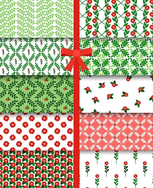 Conjunto simple de patrones sin fisuras de flores y ramas rojas y verdes. vector gratuito