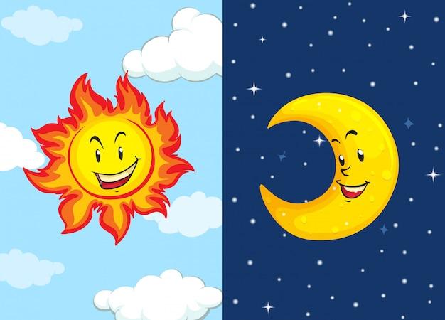 Conjunto de sol y luna vector gratuito