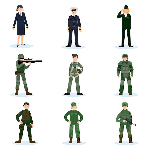 Conjunto de soldados del ejército vector gratuito