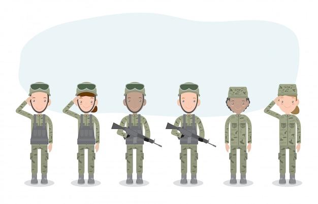 Conjunto de soldados hombres y mujeres. personaje de dibujos animados plano aislado en blanco. ejército de los ee. uu., soldados ilustración aislada. Vector Premium