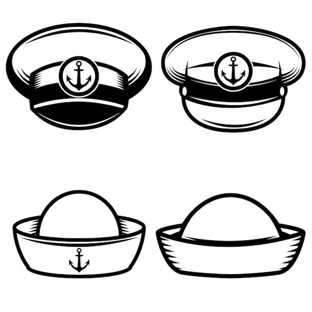 Conjunto del sombrero de marineros. elementos para logotipo, etiqueta, emblema, letrero, póster, camiseta. ilustración Vector Premium