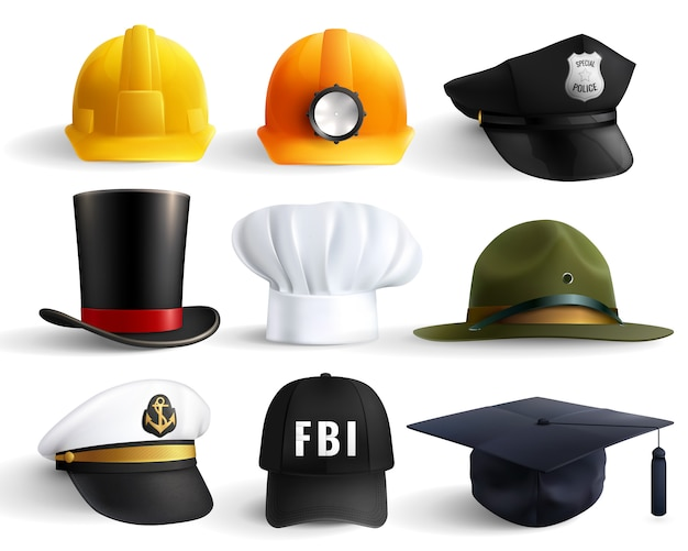 Conjunto de sombreros de diferentes profesiones vector gratuito