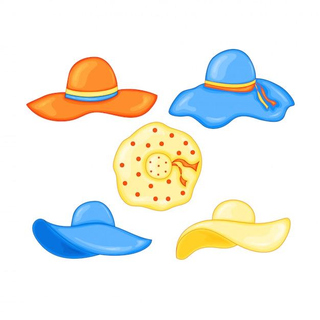 Conjunto de sombreros de verano para la playa. Vector Premium