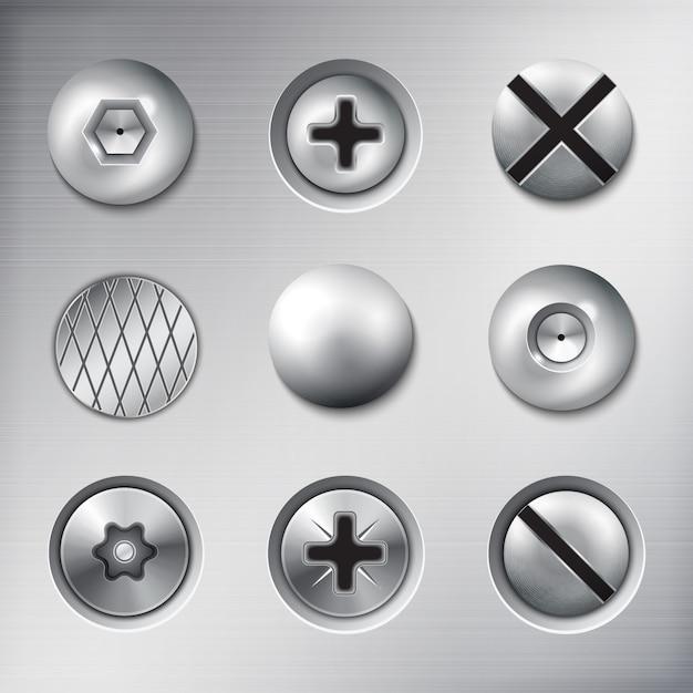 Conjunto de sujetadores adjuntos realistas tornillos pernos clavos en textura de metal aislado vector gratuito