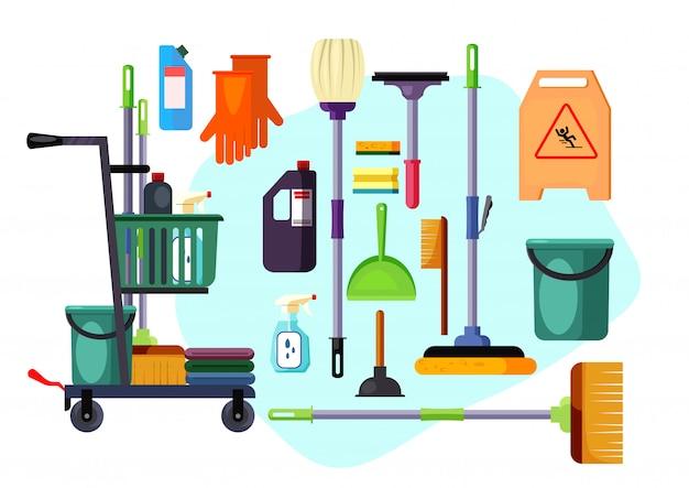 Conjunto de suministros y herramientas de limpieza. vector gratuito