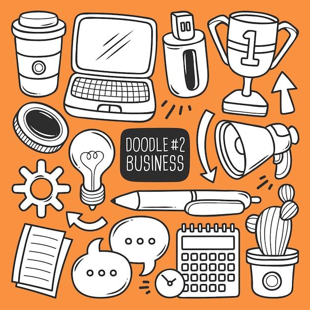 Conjunto de suministros de oficina doodle vector gratuito