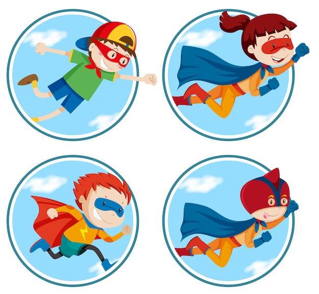 Conjunto de super hero vector gratuito