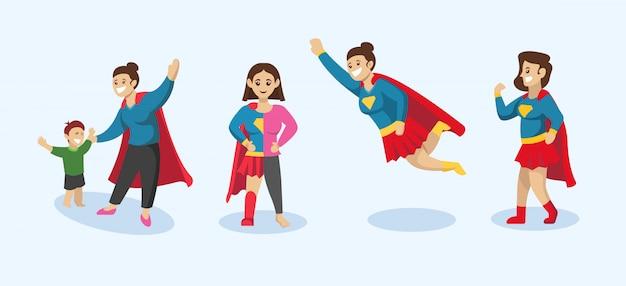 Conjunto de super mamá, ilustración de diseño de madre con pose de superhéroe Vector Premium