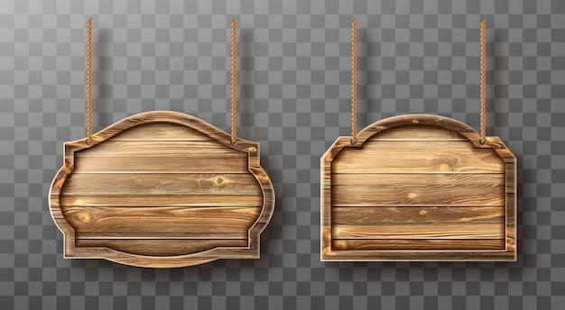 Conjunto de tablas de madera en cuerdas. letreros realistas vector gratuito