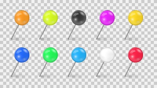 Conjunto de tachuela de alfiler de colores en diferentes escorzos aislado sobre fondo transparente. agujas de coser o tachuelas de plástico para avisos de papel. chinchetas realistas. ilustración. Vector Premium