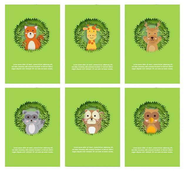 Conjunto de tarjeta de animales, ciervos, ratas jirafas, mapaches, zorros en el bosque para tarjeta de cumpleaños, tarjeta de felicitación y tarjeta de plantilla. corte de papel y estilo artesanal. Vector Premium