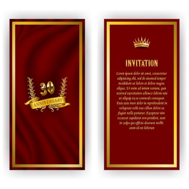 Conjunto de tarjeta de aniversario, invitación con corona de laurel, número. emblema decorativo de oro del jubileo sobre fondo rojo. elemento de filigrana, marco, borde, icono, logotipo para web, diseño de página en estilo vintage Vector Premium