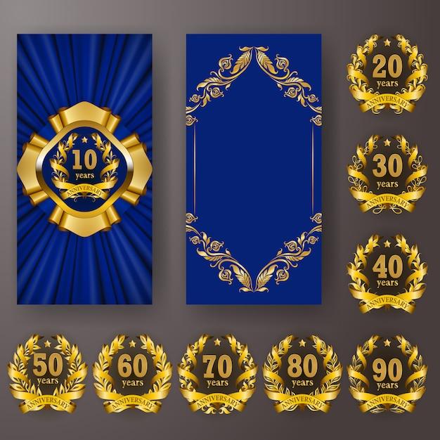 Conjunto de tarjeta de aniversario, invitación con corona de laurel con números Vector Premium