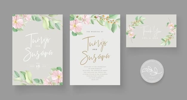 Conjunto de tarjeta de boda floral verde suave vector gratuito