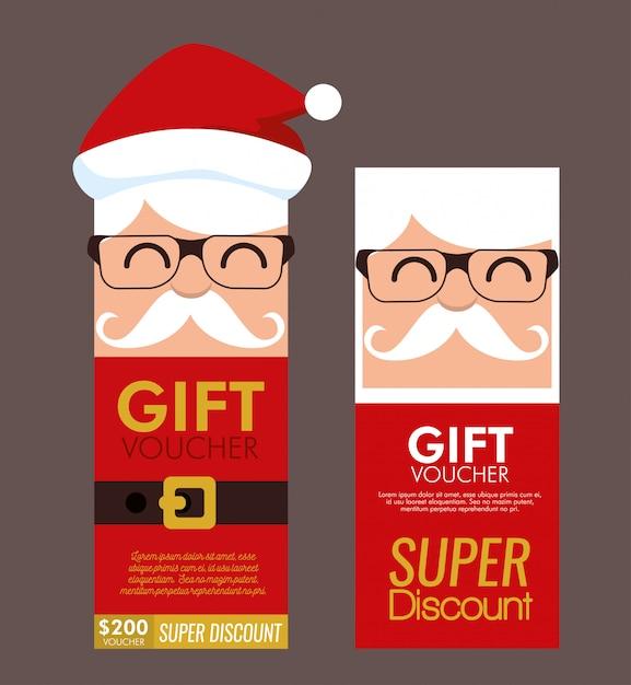 Conjunto de tarjeta de cupón de regalo de navidad vector gratuito