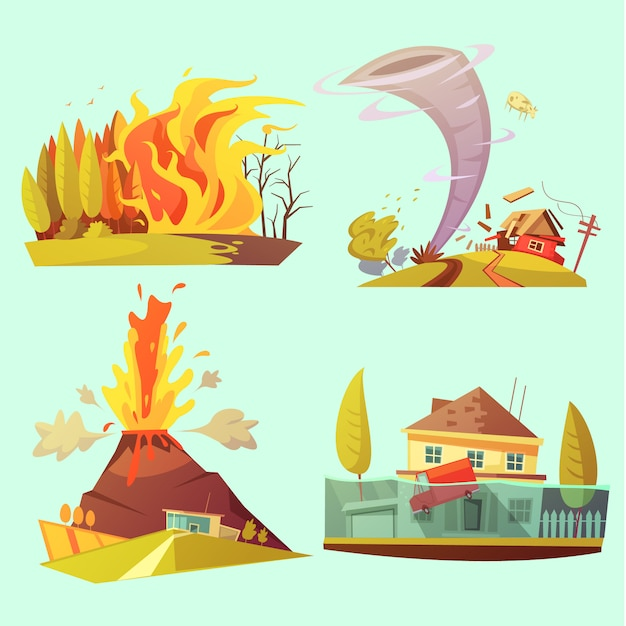 Conjunto de tarjeta de dibujos animados retro de desastre natural vector gratuito