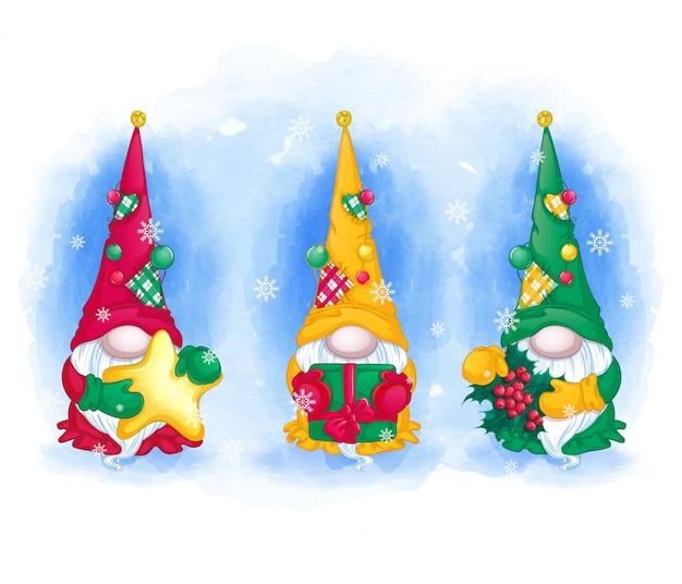 Conjunto de tarjeta de felicitación tres divertidos gnomos con sombreros largos Vector Premium