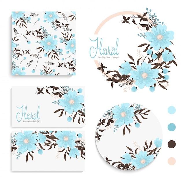 Conjunto de tarjeta con flores, hojas. adorno de boda invitación floral, cartel, invitación. vector gratuito