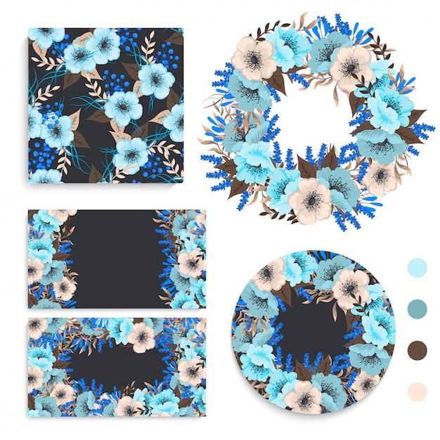 Conjunto de tarjeta con flores, hojas. adorno de boda revista floral, póster, invitación. vector gratuito