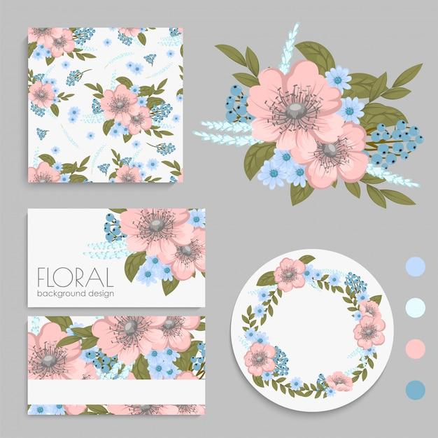 Conjunto de tarjeta con flores, hojas. adorno de boda vector gratuito